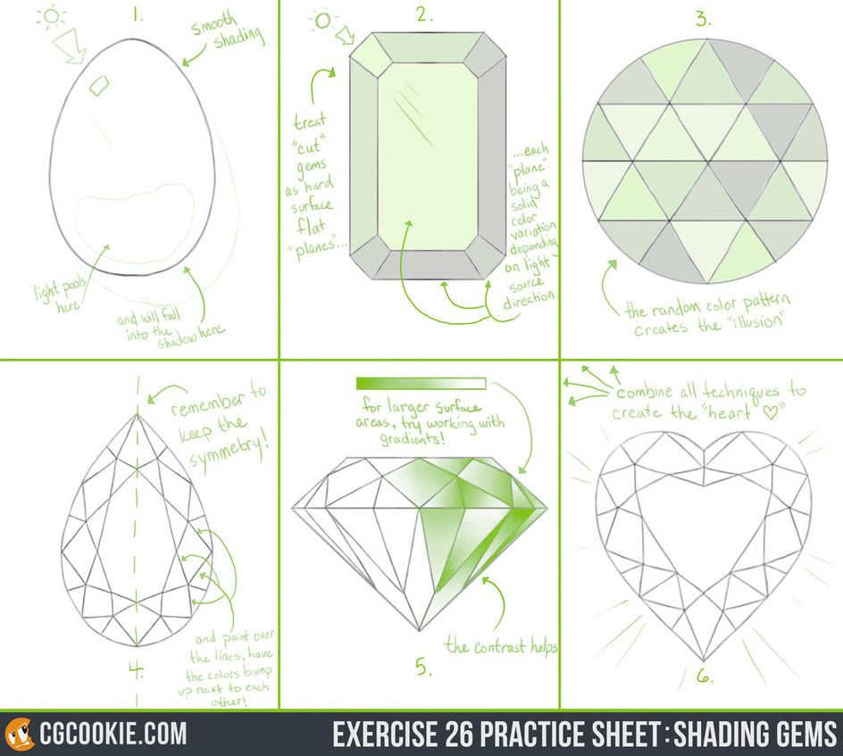 Check out the Exercise and Download the Practice Sheet HERE EXERCISE:  To practice the art of shading gems accurately with confidence.This exercise is to be confident in adding gems, jewe...