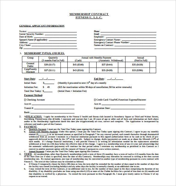 gym membership form template