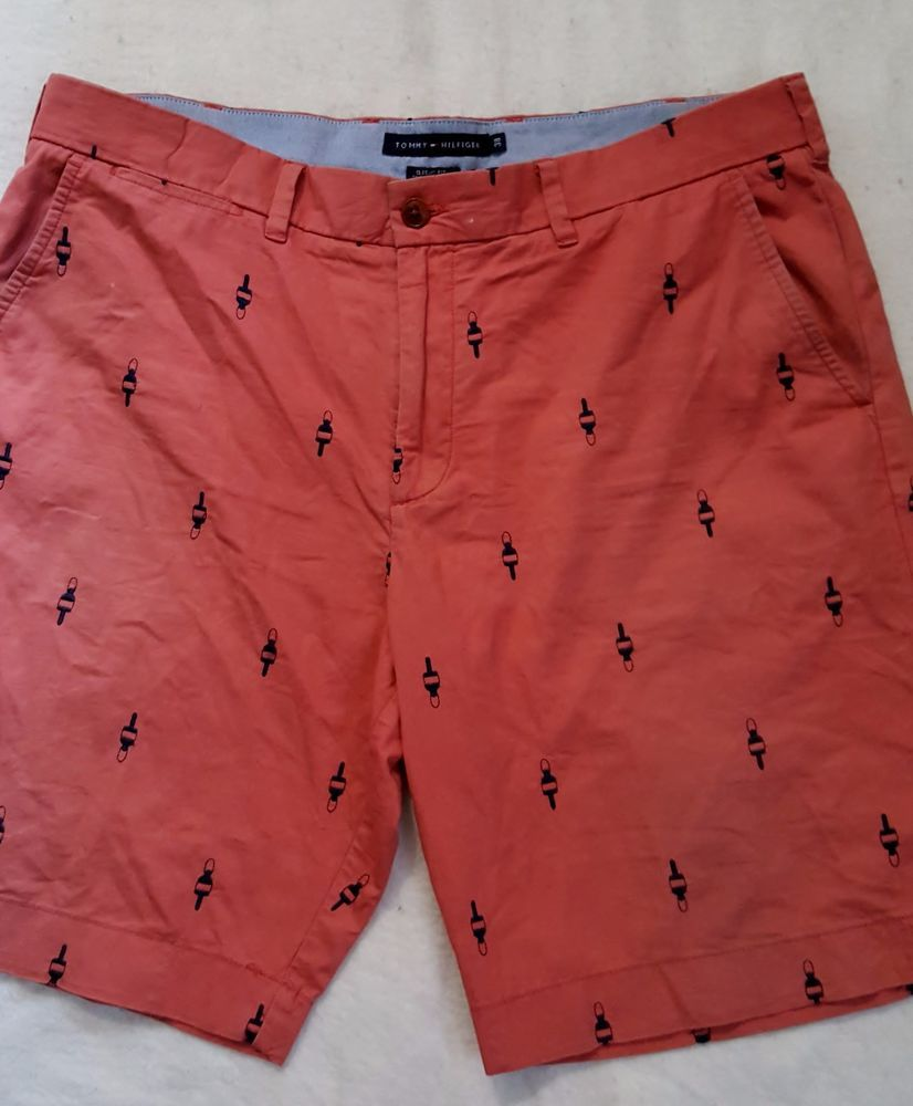 Men's Red Bouy Critter Shorts Tommy Hilfiger Size 38 Classic Fit #TommyHilfiger #DressShorts