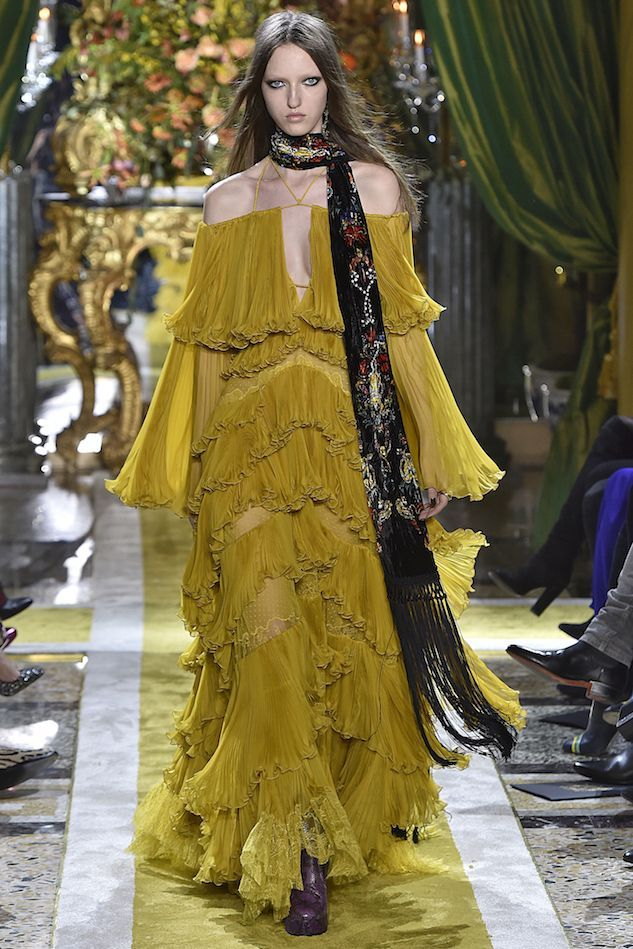 Yellow roberto cavalli dress.