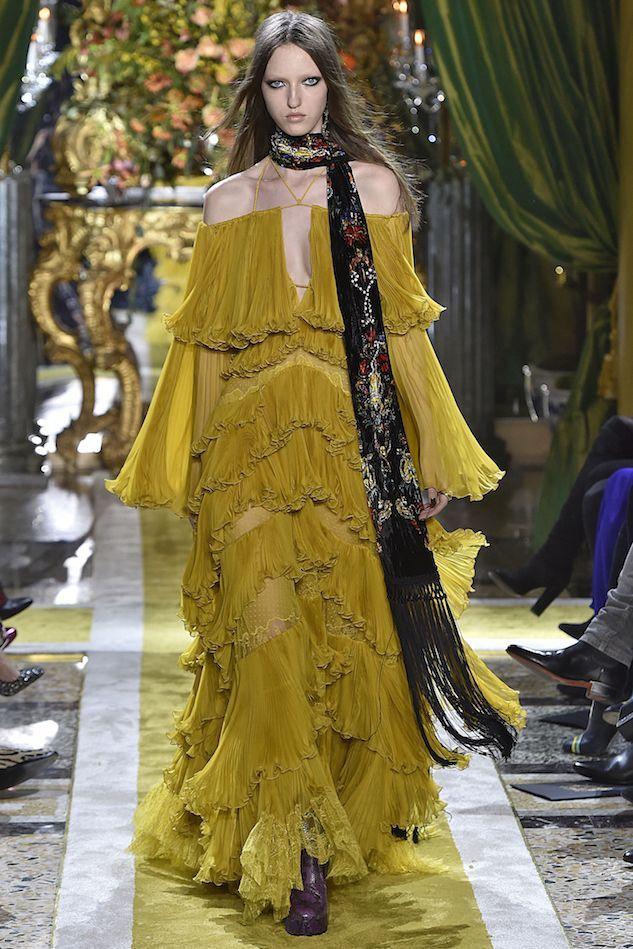 Yellow roberto cavalli dress.