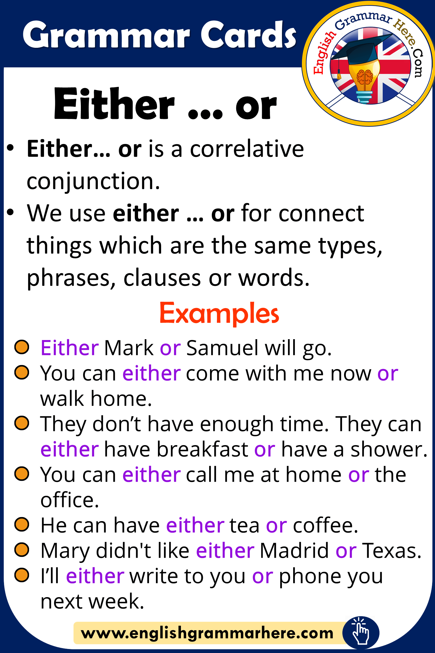 Grammar Cards Using Either Or In English
