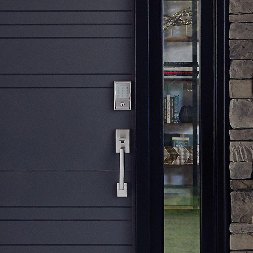 Schlage Encode Wifi Smart Lock In Satin Nickel On Black Front Door Wifi Door Lock Door Locks Modern Door