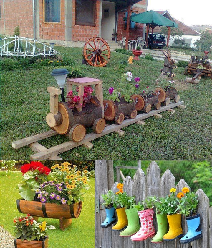 5 cool planter ideas for your garden to welcome spring for Homemade garden decor crafts