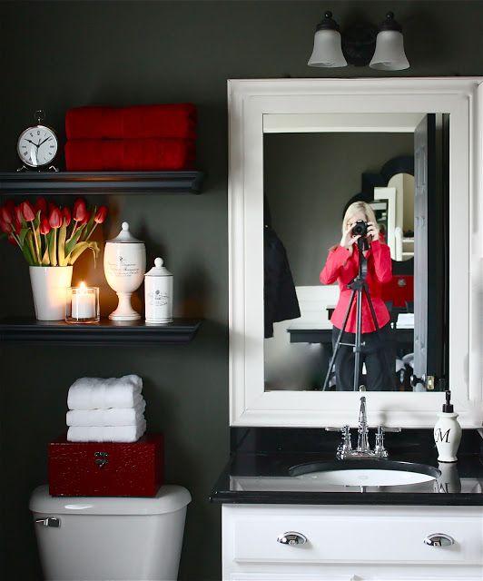 18 Small Bathroom Ideas To Make This Cozy Space Look Bigger Red Bathroom Decor Bathroom Red Restroom Decor