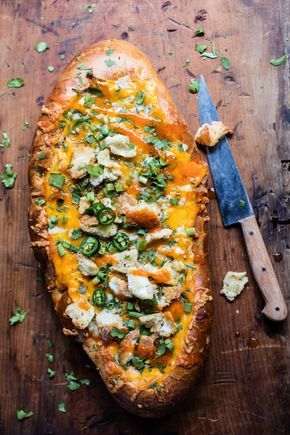 Cheesy Buffalo Chicken French Bread - aka...the perfect Thursday night football meal!! Fast, simple and loved by all! From halfbakedharvest.com
