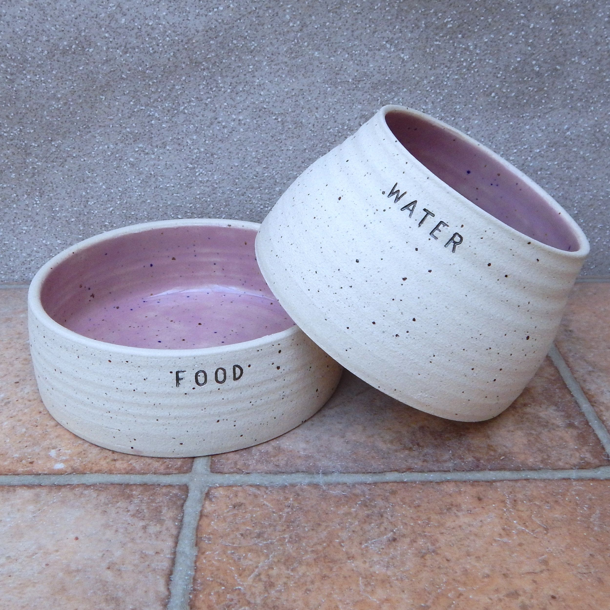 Pair Of Spaniel Dog Food And Water Bowls Long Eared Ears Dishes