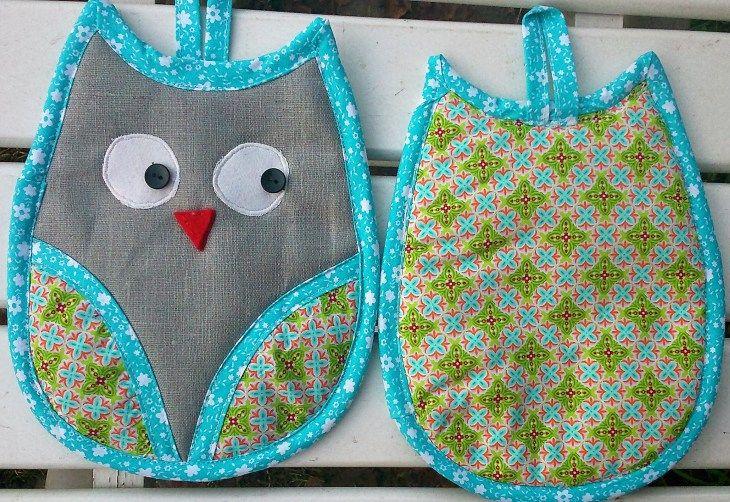 Näh-Anleitung: Eulen-Topflappen nähen | Potholders, Patchwork and Owl
