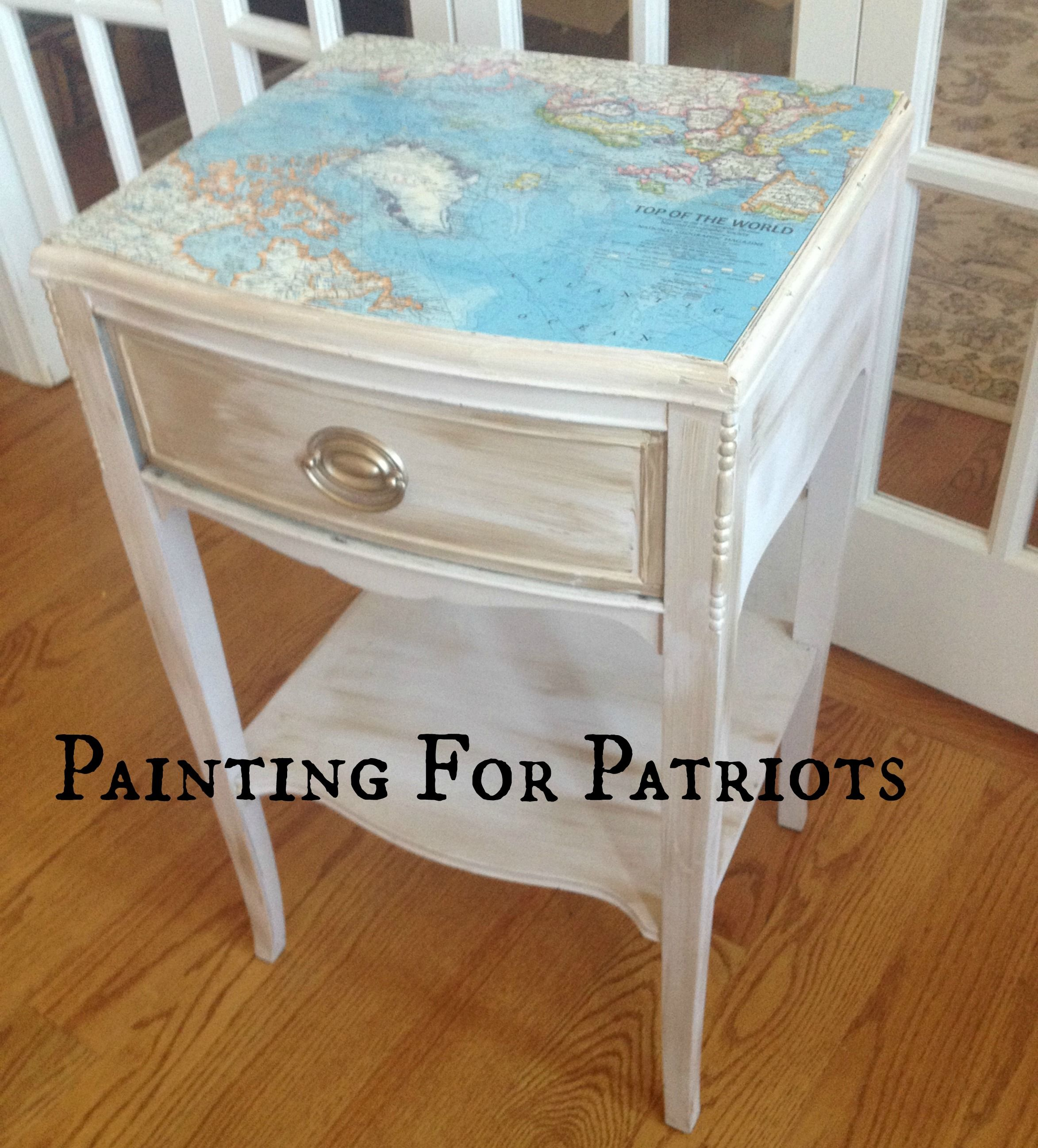 Nightstand With Vintage Top Of The World Map Who Wouldn T Want To Wake Up To That Sold To Benefit The Semper Fi Fund Vintage Nautical Vintage Maps Repurposed