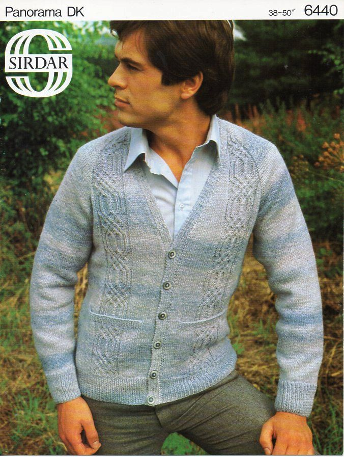 aaaa5122243c9 mens cardigan knitting pattern PDF DK mens cable panel v neck jacket with  pockets larger sizes 38-50