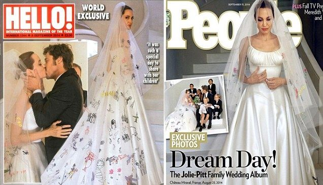 Angelina Jolie S Wedding Outfit Had Her Kids Scribbles All Over It Jennifer Aniston Wedding Angelina Jolie Wedding Versace Wedding Dress