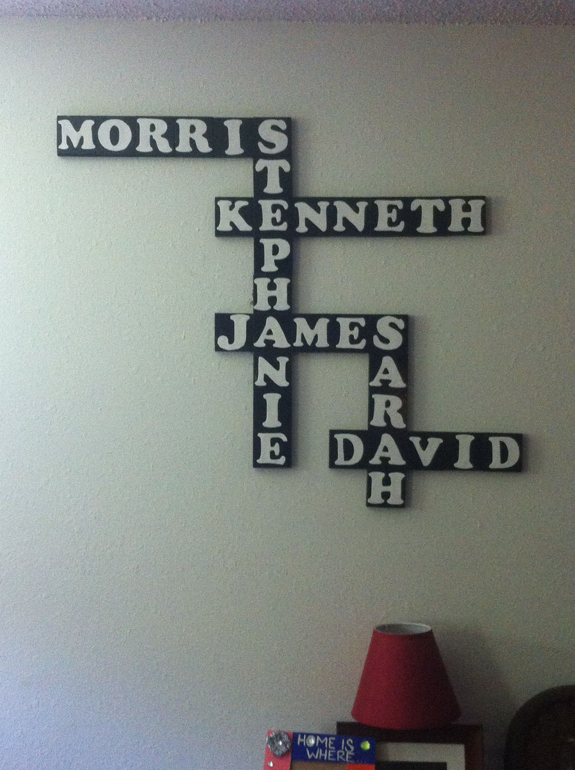 Spray painted blocks and cut our letters.   Super awesome!!!