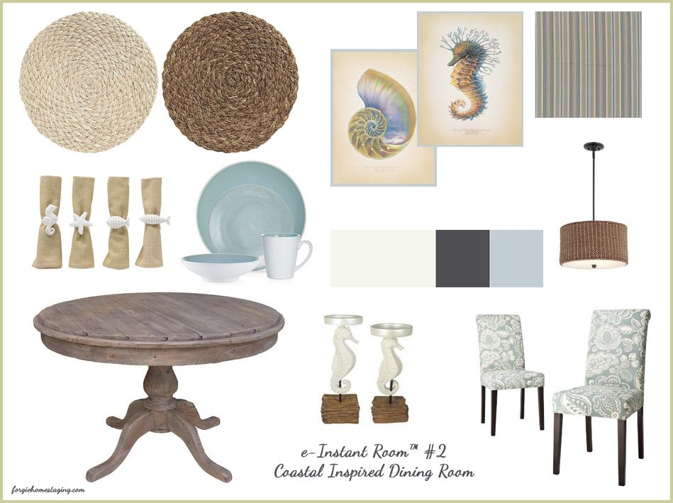 Warm And Cozy Dining Room Moodboard: Coastal Inspired Dining Room - #moodboard