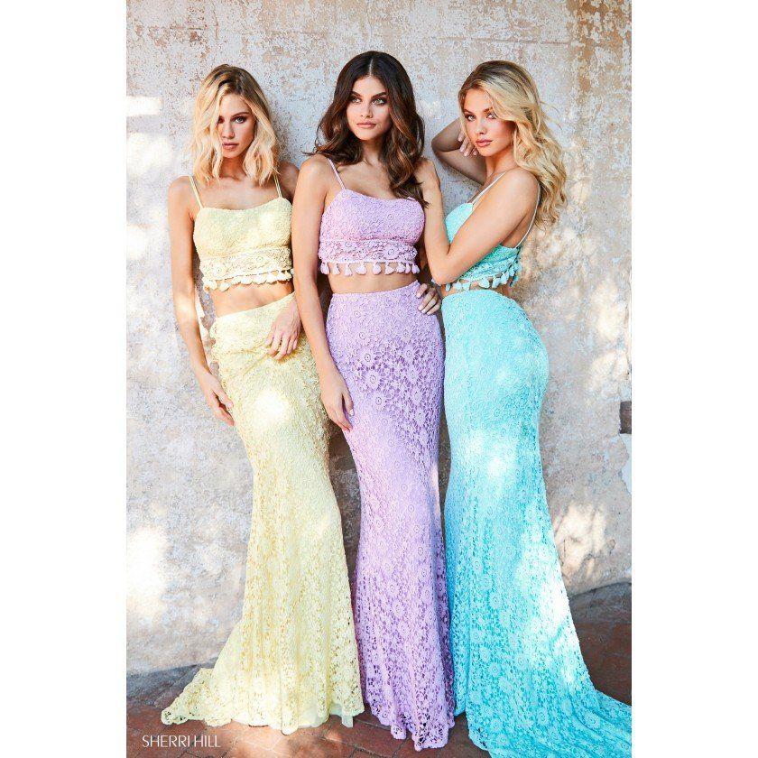 57f78ae1db2 Sherri Hill 52810 Lace Boho Two Piece Dress in 2019