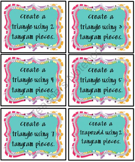 tangram task crads   tangram task cards math classroom