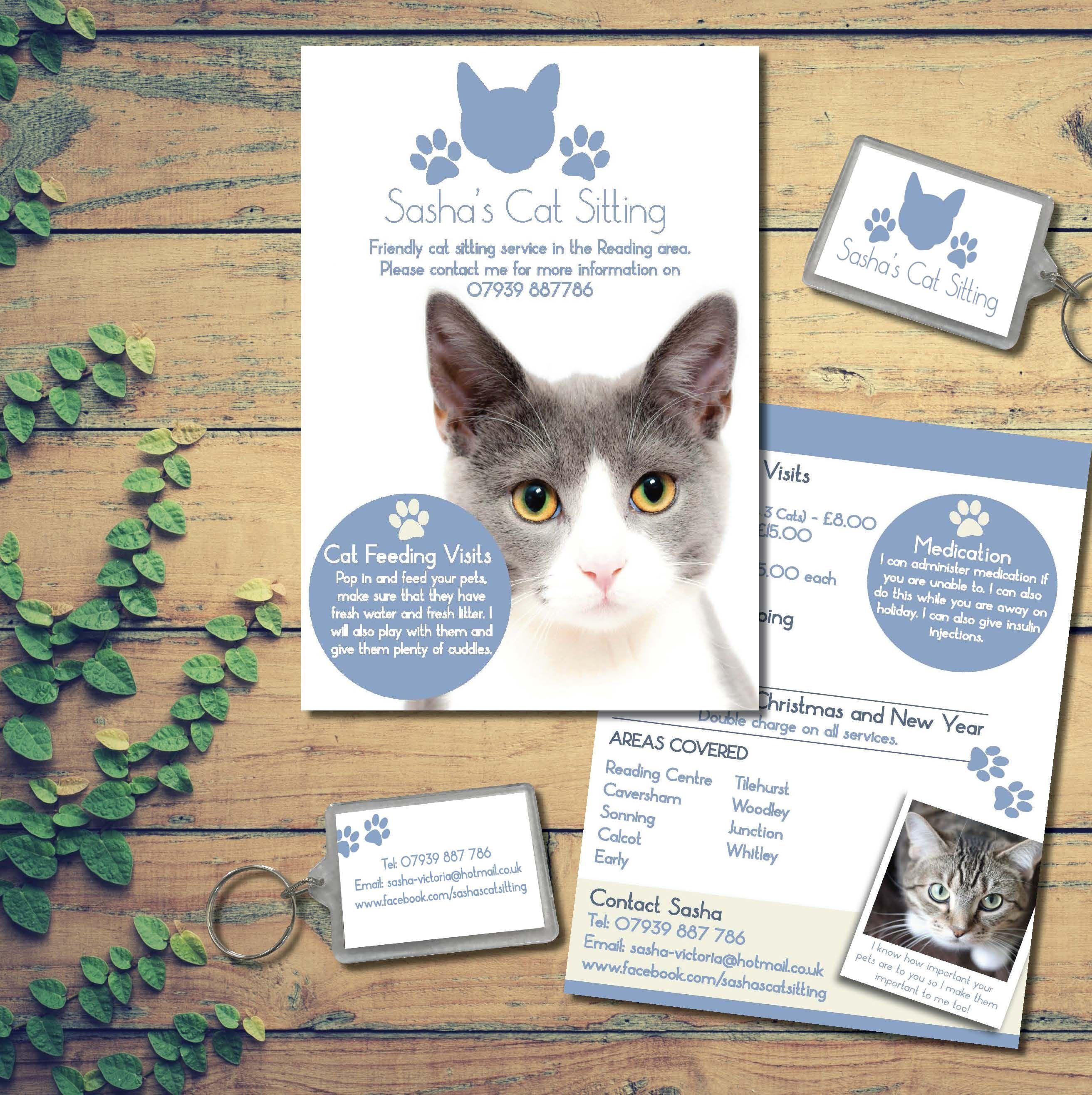 Keyring And Leaflet Design For Sasha S Cat Sitting Cat Sitting Cat Feeding Leaflet Design