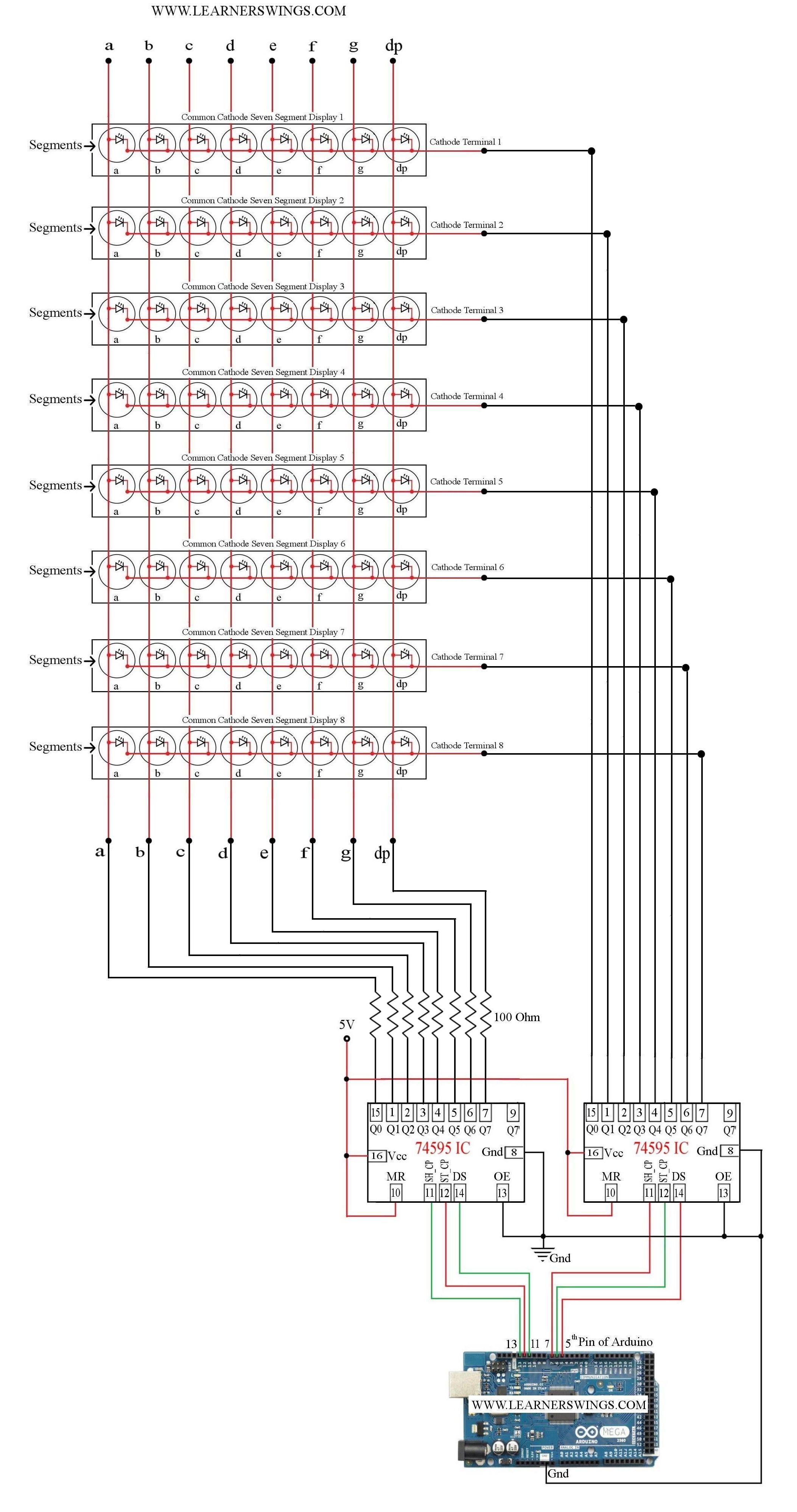 Control A Cluster Of 8 Common Cathode Seven Segment Displays Using Arduino Mega And Two 74595 Ics Read Mor Elektroniken Elektronische Schaltung Elektrotechnik