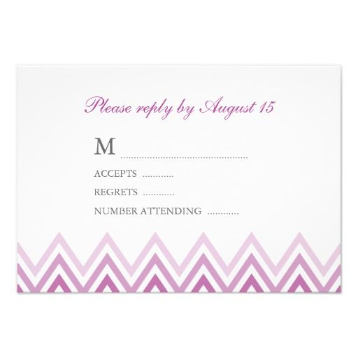 Modern Purple Ombre Chevrons Response Cards