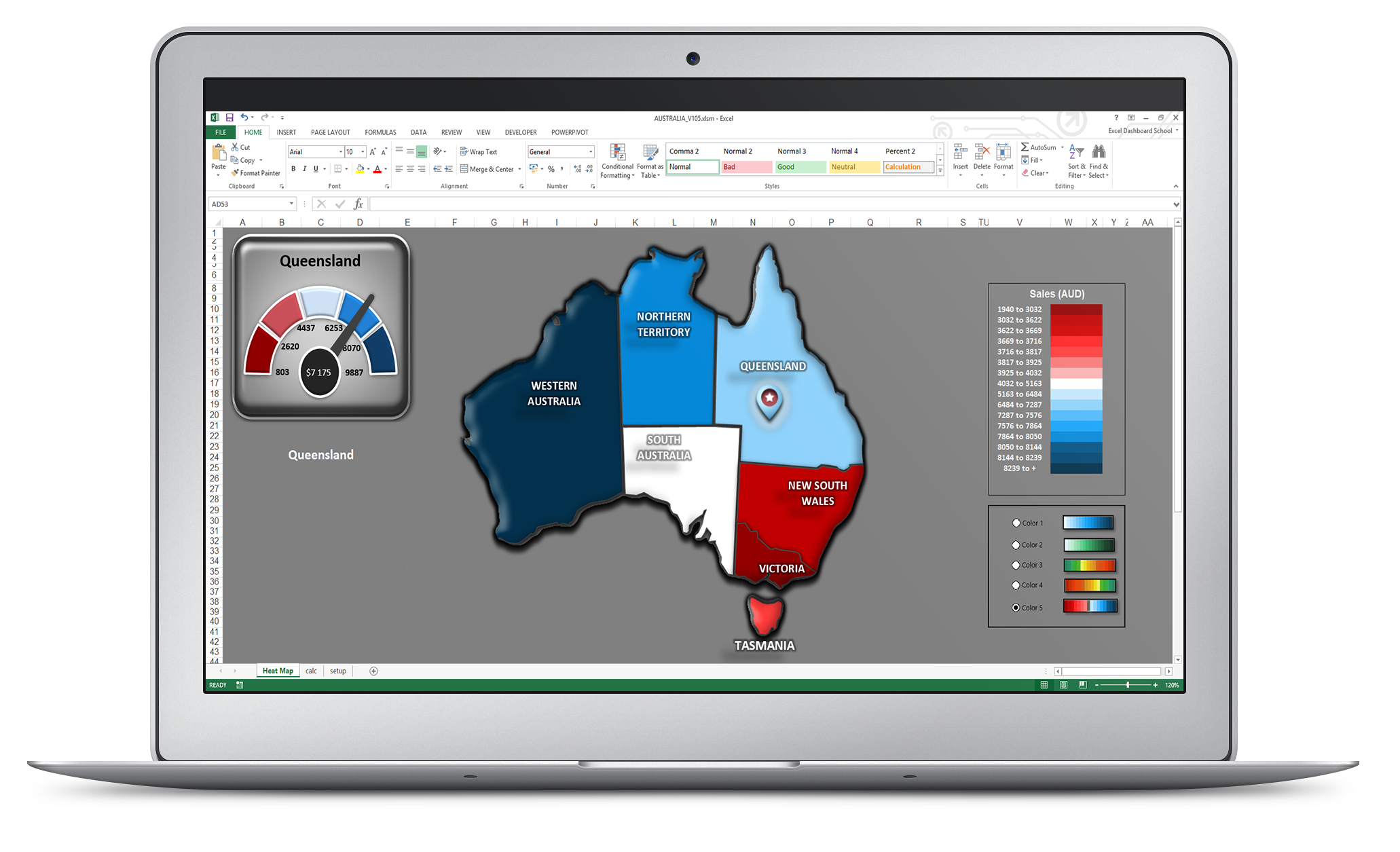 Excel Australia Sales Map | Excel Dashboards | Excel dashboard