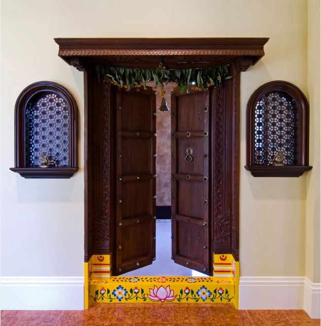 Pooja room door designs room door design door design for Traditional main door design