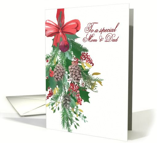 to a special mom and dad merry christmas hanging wreath painting card merry christmas