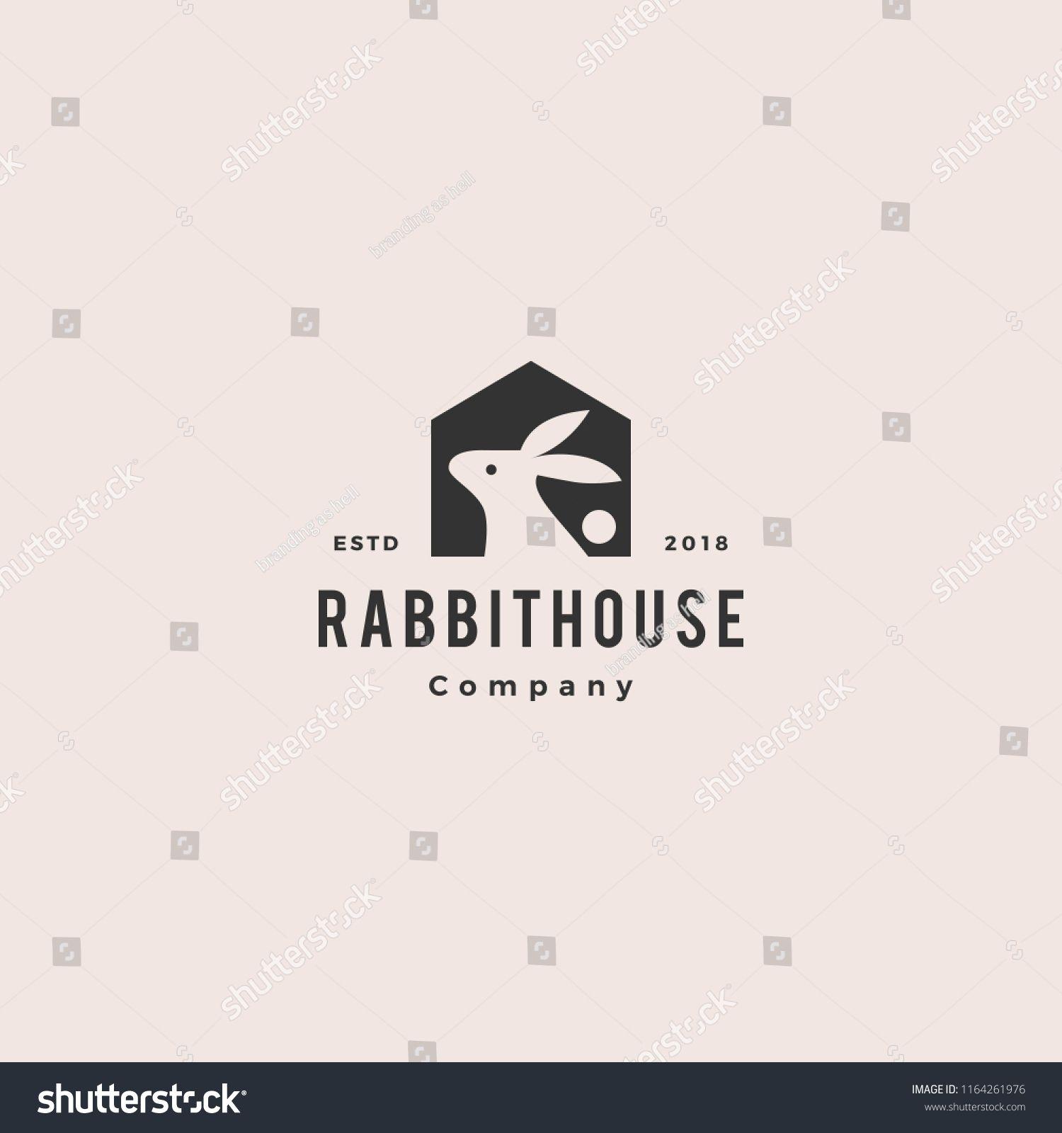 Rabbit House Home Logo Vintage Retro Hipster Vector Icon Illustration Logo House Estate Real Home Design Icon Building Business Vector Comp