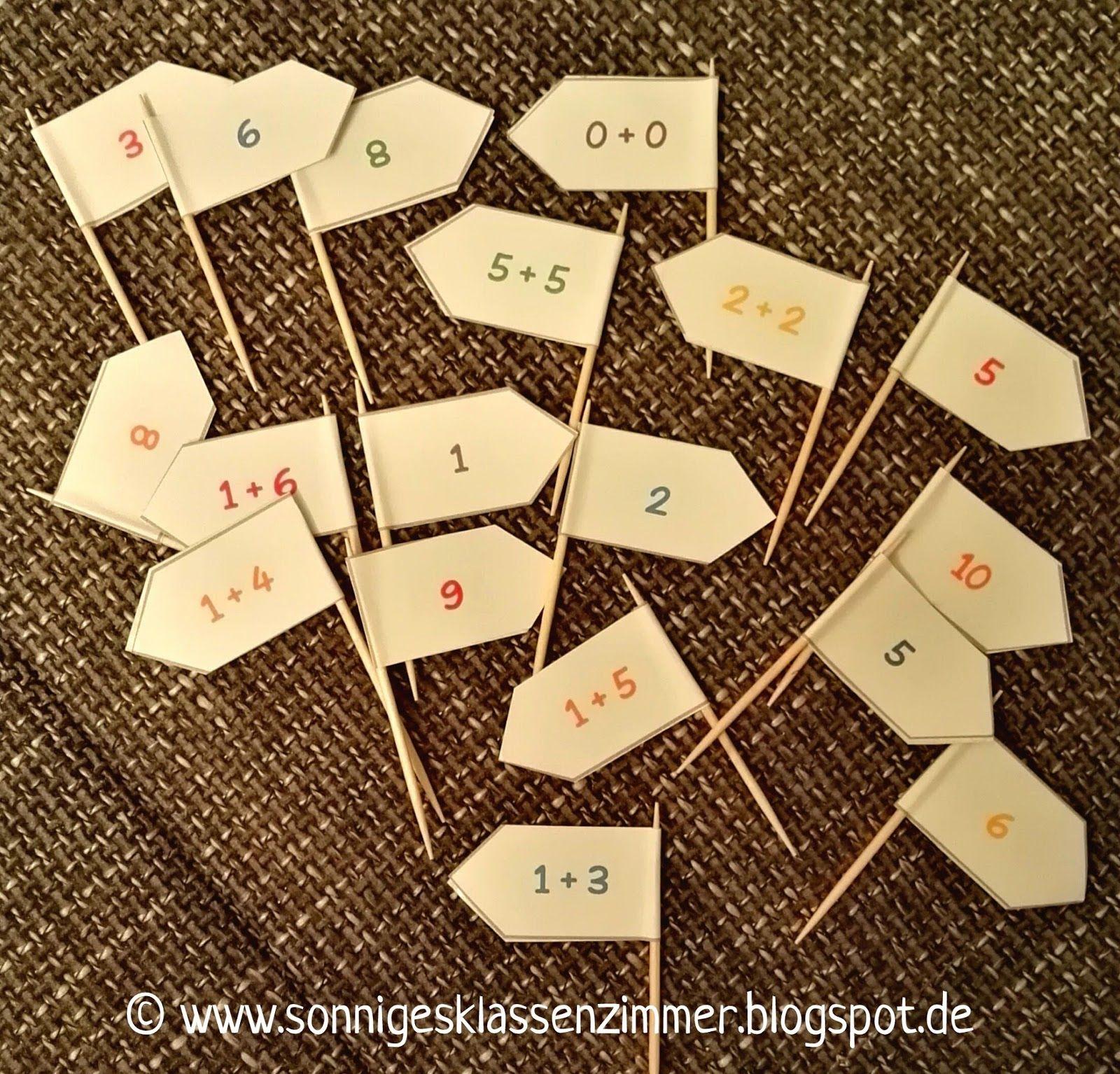 Rechenfähnchen, Fähnchen mit Aufgaben für den ZR 10, Zahlenraum 10 ...