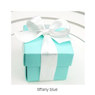 Tiffany Blue Square Favor Bo