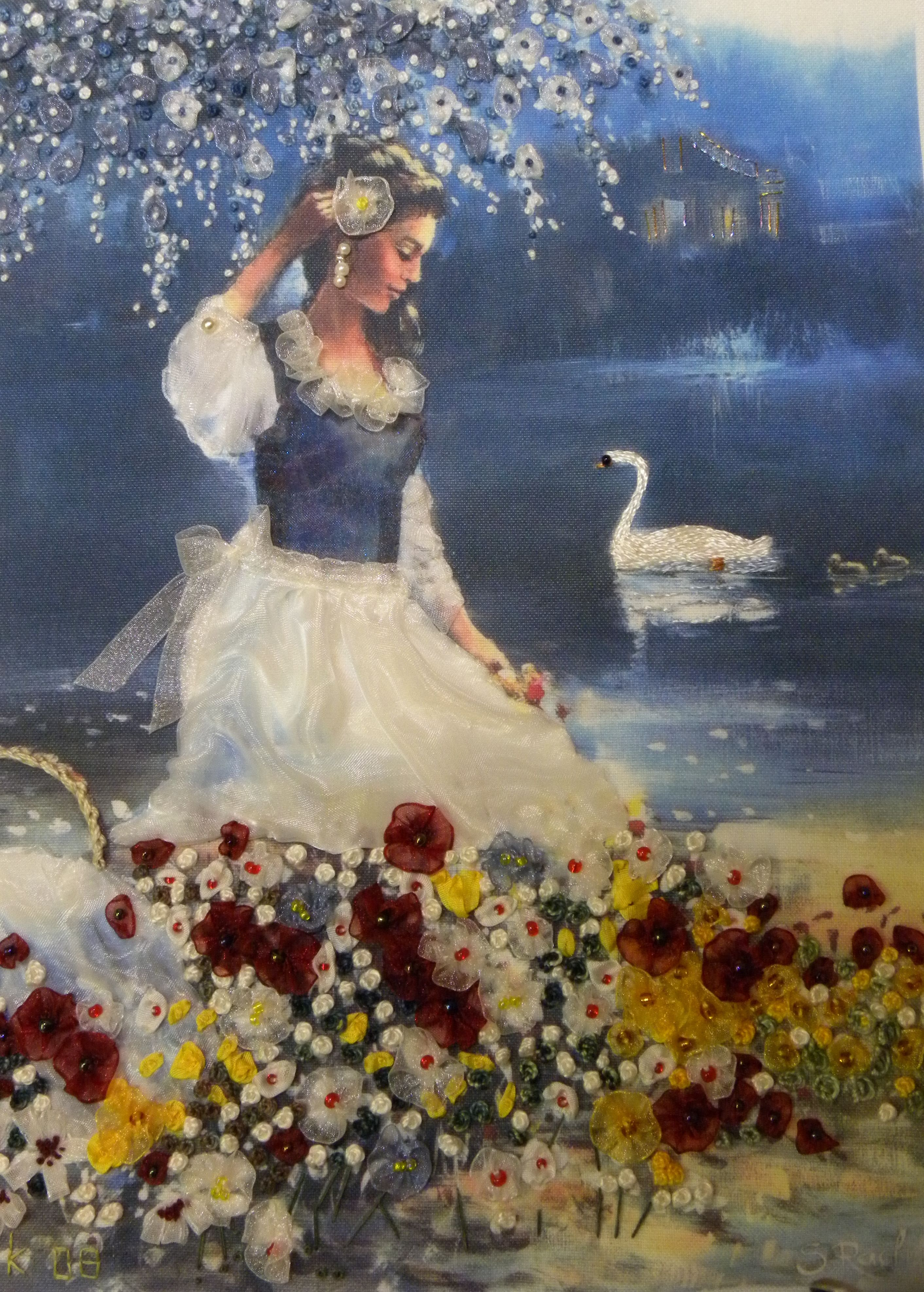 Girl with swan in Ribbon Embroidery by Veronica Kern on print of S Rachelle.
