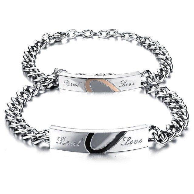 Flongo Mens Womens Romantic Stainless Steel Couples Love Matching Cubic Zirconia Cross Engagement Promise Bangle Bracelet
