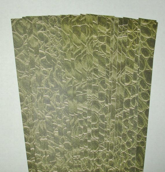 Precut Paper Bead Strips Olive Croco by ThePaperBeadBoutique