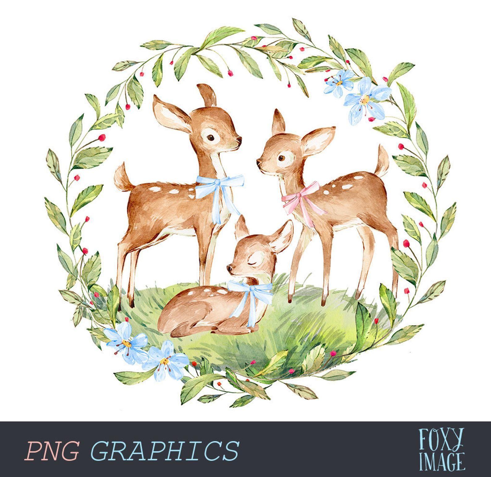 Deer Family Clipart Watercolor Deer Png Clipart Sleeping Etsy Watercolor Deer Deer Illustration Deer Family
