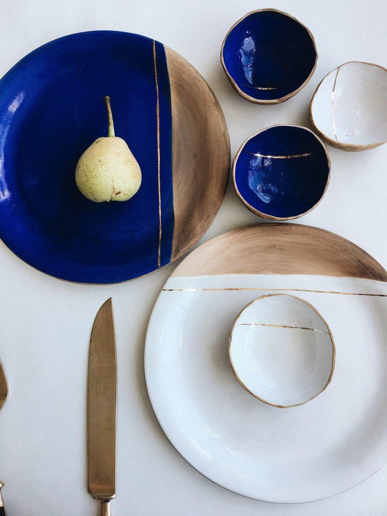 Small Bowls With Kitsungi Design Hand Thrown Earthenware By Julia Pilipchatina Ceramic Studio Tiletiletesto In 2020 With Images Tableware Design Tableware Plates