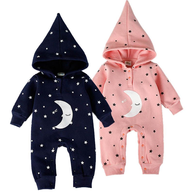 d28f5a502af7 Fashion Baby Boys Girls Romper Spring Newborn Baby Clothes Cotton Flannel  Warm Hooded Rompers Moon Star Baby Jumpsuit Clothing
