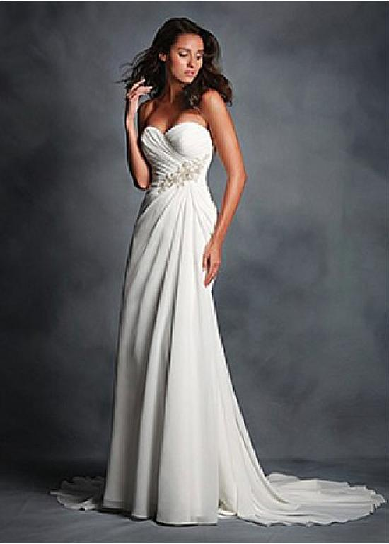 comprar Vestido de boda elegante de la gasa de novia de escote ...