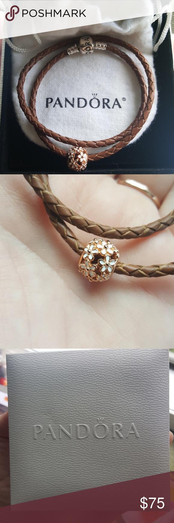 Leather pandora bracelet with rose daisy charm jewelry bracelets