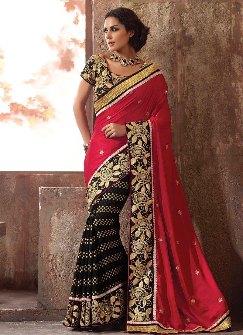 cf3bdef8a6 Black Net Saree, Red Saree, Satin Saree, Bridal Lehenga Choli, Party Wear