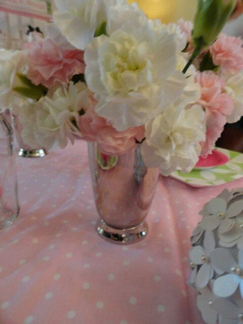 Pink and white petite carnations in juleep cups...