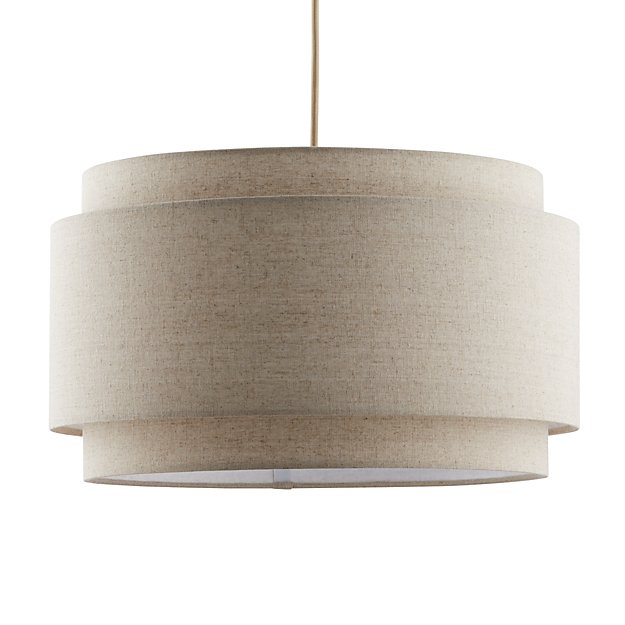 Avery Linen Double Drum Pendant Light Reviews Crate And Barrel