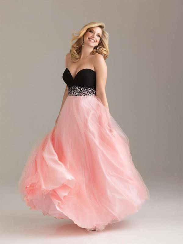 Best On Sale Princess Sweetheart Ruched Beading Long Pink Prom Dress ...