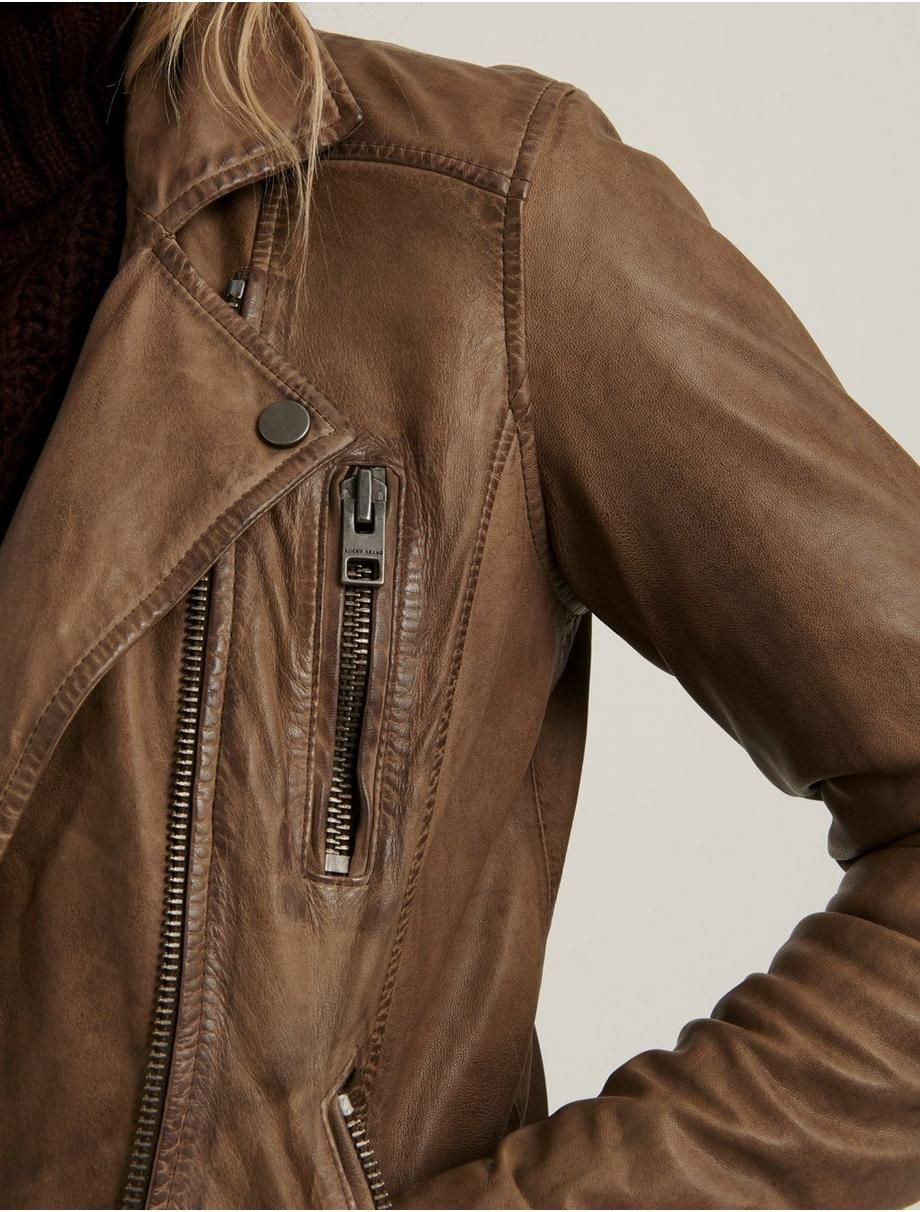 Distressed Leather Moto Jacket Lucky Brand Leather Jacket Women Brown Brown Jackets Women Jackets [ 1212 x 920 Pixel ]