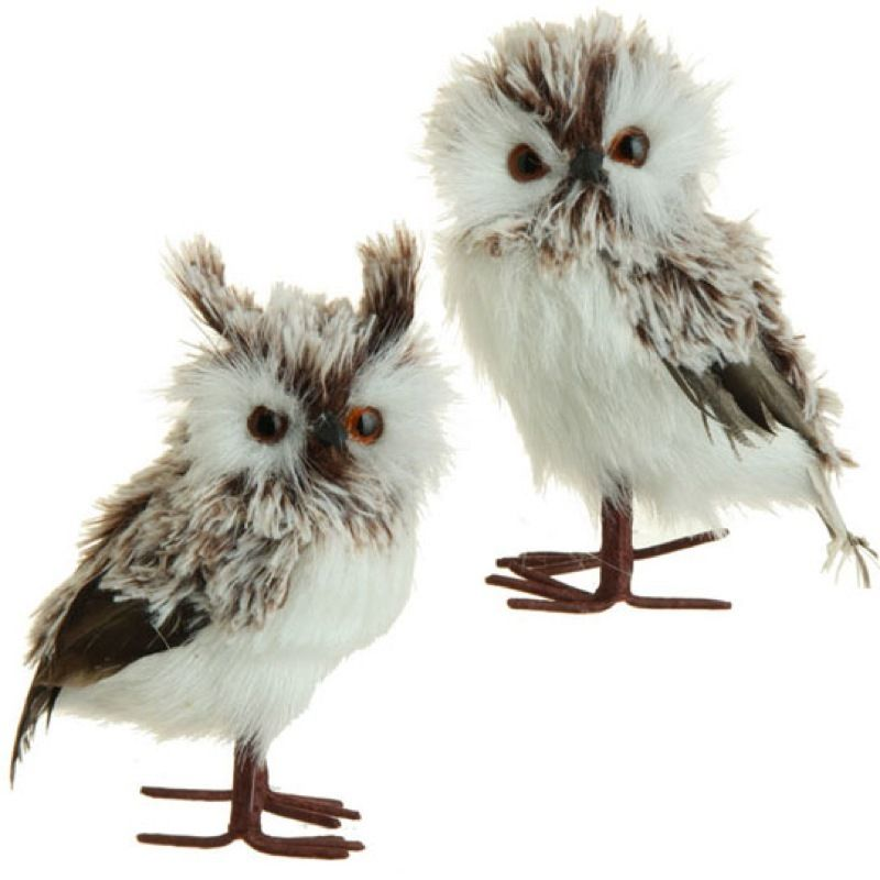 Pair 55 Whimsical Brown White Feather Fuzzy Standing Owl