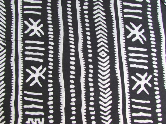 10 black and white tribal print indian cotton boho fabric by the