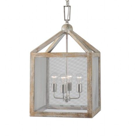 luminaire suspendu style lanterne en bois gris taupe. Black Bedroom Furniture Sets. Home Design Ideas
