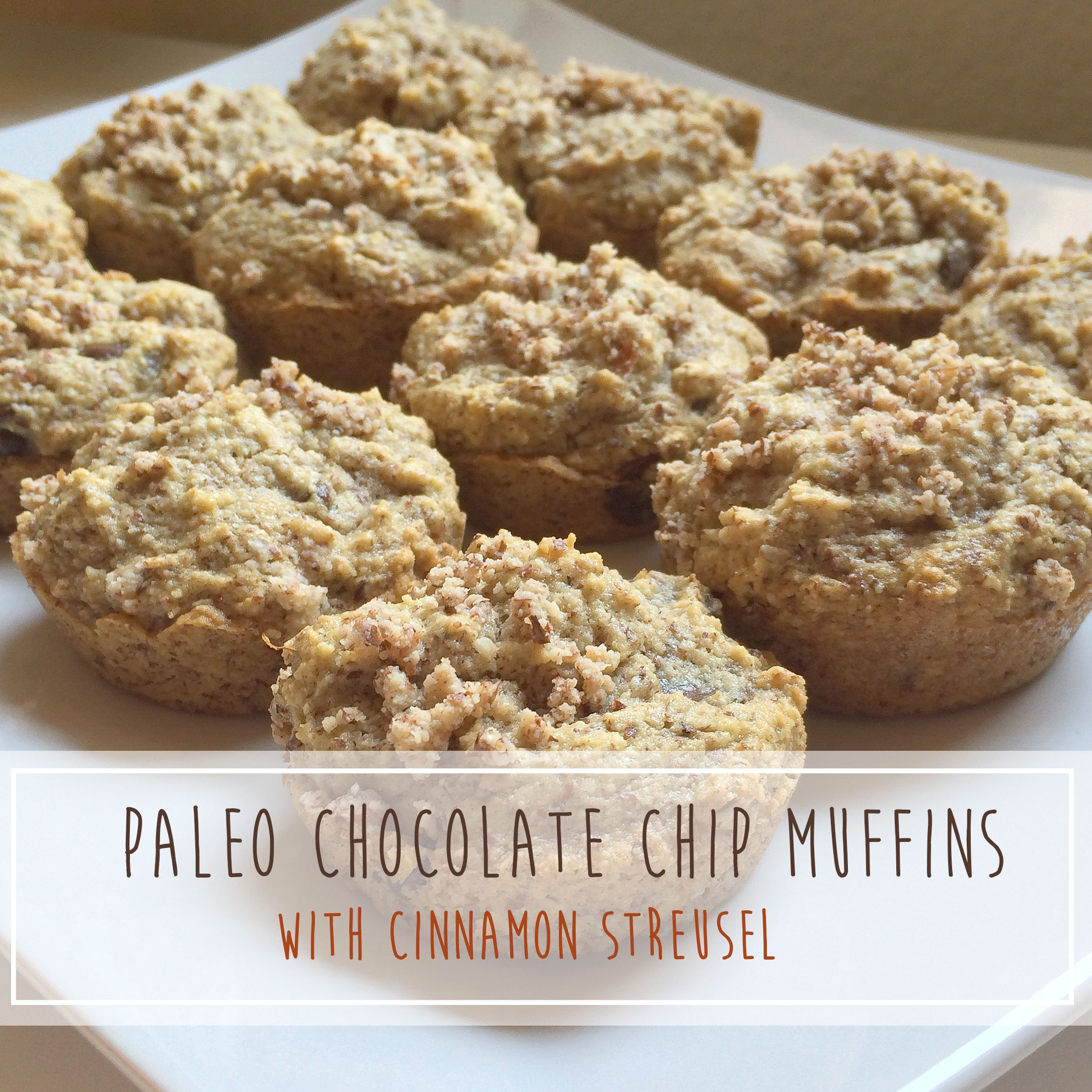 Paleo Chocolate Chip Muffins with Cinnamon Streusel