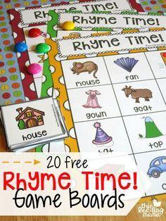 Things That Rhyme With House : things, rhyme, house, Rhyme, Boards, Reading, Rhyming, Activities,, Preschool, Literacy,, Kindergarten