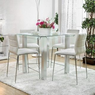 Shop For Furniture Of America Ezreal Contemporary Tempered Glass Silver Counter Height Dining Table Get