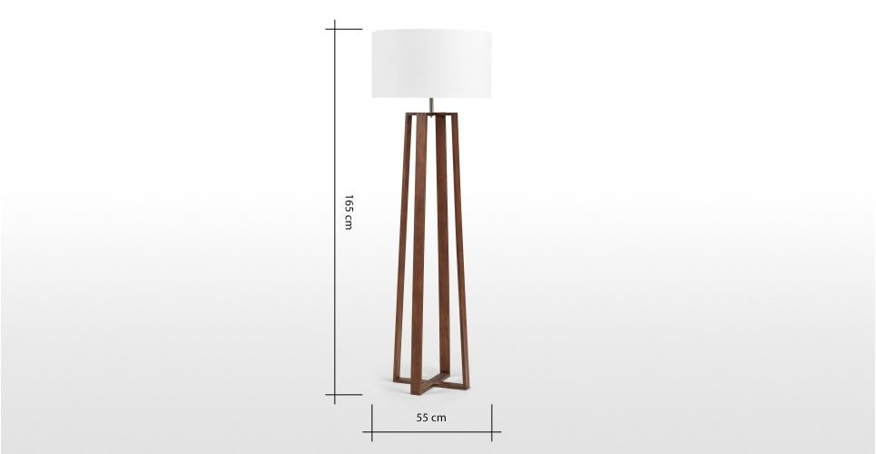 Asher Wooden Floor Lamp Dark Wood Stain Made