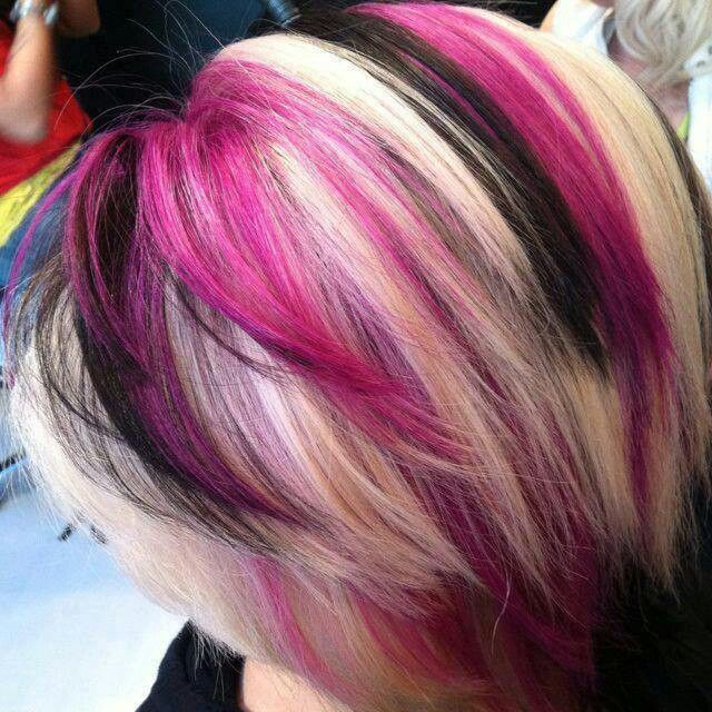 Pink Black Blonde Layers Cute Hair With Images Wild Hair Color