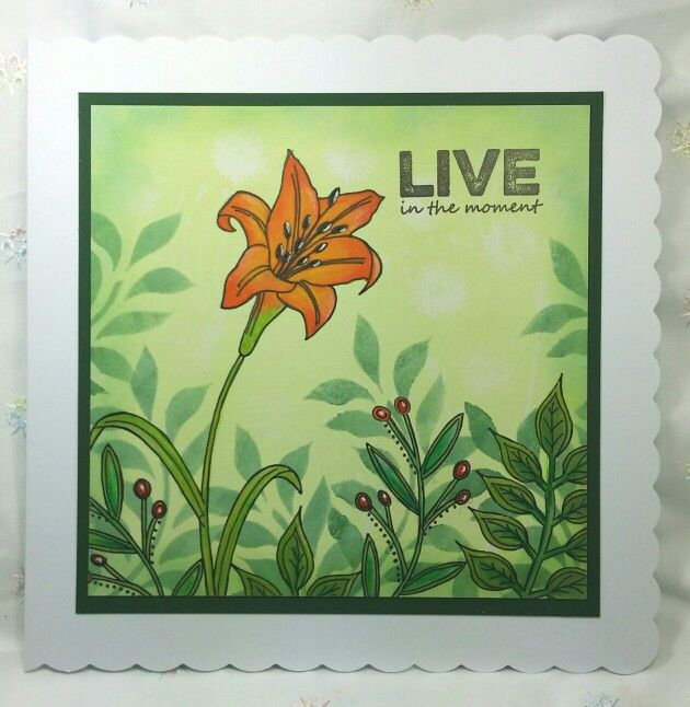 8 inch card with Paperartsy stamps, stencil and Fresco Finish paints by Erica Evans